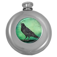 Raven   In Green   Round Hip Flask (5 Oz) by WensdaiAddamns