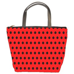 Red Black Polka Dots Bucket Bag