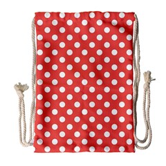 Red White Polka Dots Drawstring Bag (large)