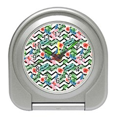 Geometric Flowers Pattern Travel Alarm Clock by goljakoff