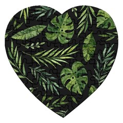 Night Tropical Leaves Jigsaw Puzzle (heart) by goljakoff