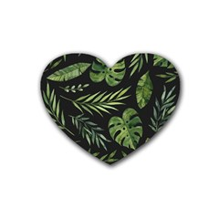 Night Tropical Leaves Heart Coaster (4 Pack)  by goljakoff