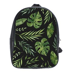 Night Tropical Leaves School Bag (large) by goljakoff