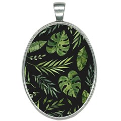 Night Tropical Leaves Oval Necklace