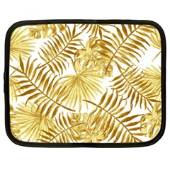 Gold Tropical Leaves Netbook Case (xxl) by goljakoff