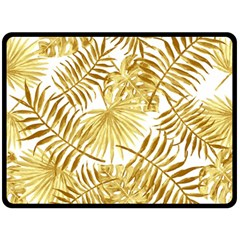 Gold Tropical Leaves Fleece Blanket (large)