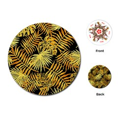 Gold Tropical Leaves Playing Cards (round) by goljakoff