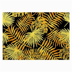 Gold Tropical Leaves Large Glasses Cloth by goljakoff