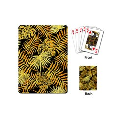 Gold Tropical Leaves Playing Cards (mini) by goljakoff
