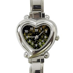 Green Tropical Leaves Heart Italian Charm Watch by goljakoff