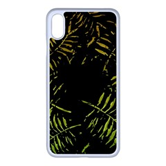 Green Tropical Leaves Apple Iphone Xs Max Seamless Case (white) by goljakoff