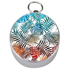 Gradient Tropical Leaves Silver Compasses by goljakoff