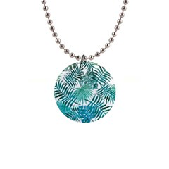 Azure Tropical Leaves 1  Button Necklace by goljakoff
