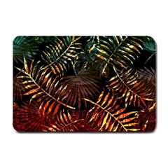 Night Tropical Leaves Small Doormat  by goljakoff