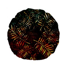Night Tropical Leaves Standard 15  Premium Flano Round Cushions by goljakoff
