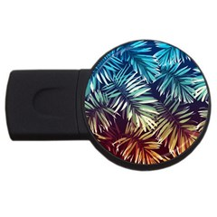 Gradient Tropical Leaves Usb Flash Drive Round (2 Gb) by goljakoff