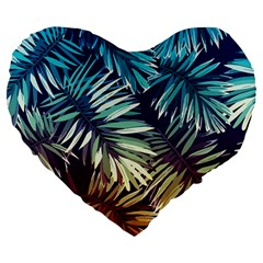 Gradient Tropical Leaves Large 19  Premium Flano Heart Shape Cushions by goljakoff