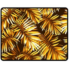 Gold Tropical Leaves Fleece Blanket (medium)  by goljakoff