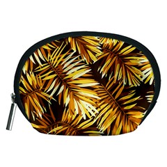 Gold Tropical Leaves Accessory Pouch (medium) by goljakoff