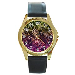Green And Purple Tropical Leaves Round Gold Metal Watch by goljakoff