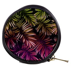 Green And Purple Tropical Leaves Mini Makeup Bag by goljakoff