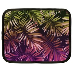Green And Purple Tropical Leaves Netbook Case (xxl) by goljakoff