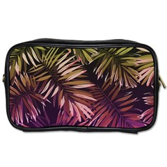 Green And Purple Tropical Leaves Toiletries Bag (one Side) by goljakoff