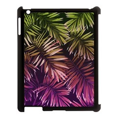 Green And Purple Tropical Leaves Apple Ipad 3/4 Case (black) by goljakoff