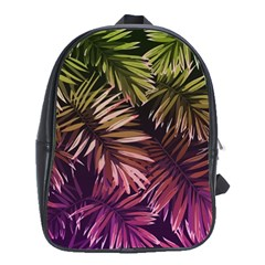 Green And Purple Tropical Leaves School Bag (xl) by goljakoff