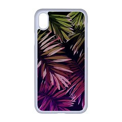 Green And Purple Tropical Leaves Apple Iphone Xr Seamless Case (white) by goljakoff
