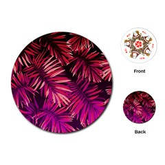 Pink Tropical Leaves Playing Cards (round) by goljakoff