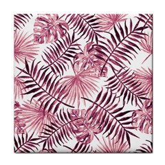 Light Rose Tropical Leaves Tile Coasters by goljakoff