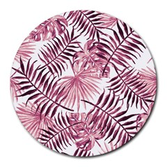 Light Rose Tropical Leaves Round Mousepads by goljakoff