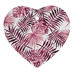 Light Rose Tropical Leaves Ornament (heart) by goljakoff