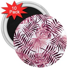 Light Rose Tropical Leaves 3  Magnets (10 Pack)  by goljakoff