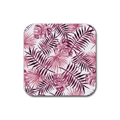 Light Rose Tropical Leaves Rubber Coaster (square)  by goljakoff