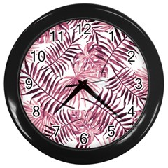 Light Rose Tropical Leaves Wall Clock (black) by goljakoff