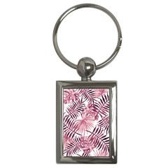 Light Rose Tropical Leaves Key Chains (rectangle)  by goljakoff