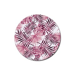 Light Rose Tropical Leaves Rubber Round Coaster (4 Pack)  by goljakoff