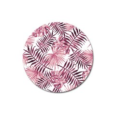 Light Rose Tropical Leaves Magnet 3  (round) by goljakoff