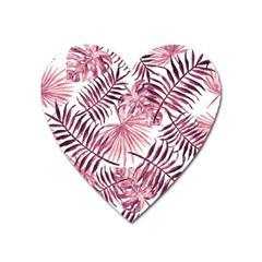 Light Rose Tropical Leaves Heart Magnet by goljakoff