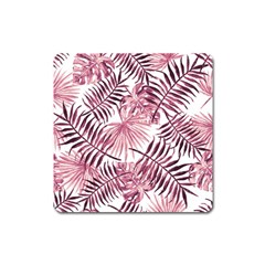 Light Rose Tropical Leaves Square Magnet by goljakoff