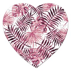 Light Rose Tropical Leaves Jigsaw Puzzle (heart) by goljakoff