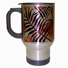 Light Rose Tropical Leaves Travel Mug (silver Gray) by goljakoff