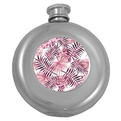 Light Rose Tropical Leaves Round Hip Flask (5 Oz) by goljakoff