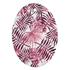 Light Rose Tropical Leaves Oval Ornament (two Sides) by goljakoff