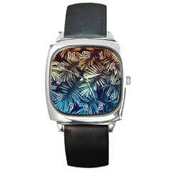 Gradient Tropical Leaves Square Metal Watch