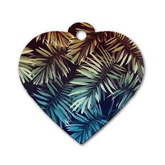 Gradient Tropical Leaves Dog Tag Heart (two Sides) by goljakoff
