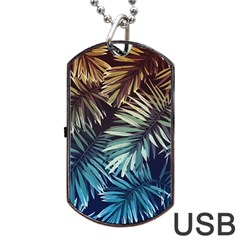 Gradient Tropical Leaves Dog Tag Usb Flash (two Sides) by goljakoff
