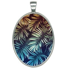 Gradient Tropical Leaves Oval Necklace by goljakoff